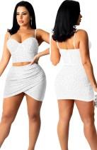 Summer Sexy White Beaded Sweethear sin mangas Crop Top y conjunto de falda Ruchid