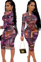 Herfst bedrukte paarse bodycon midi-jurk met lange mouwen