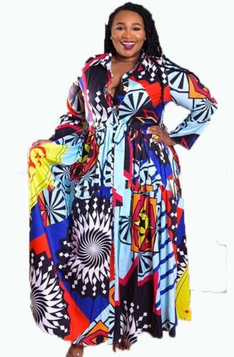 Robe longue imprimée à manches longues et à volants d'automne avec ceinture