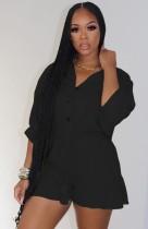 Autumn Black Button Up 3/4 Sleeve Drawstring Loose Playsuit