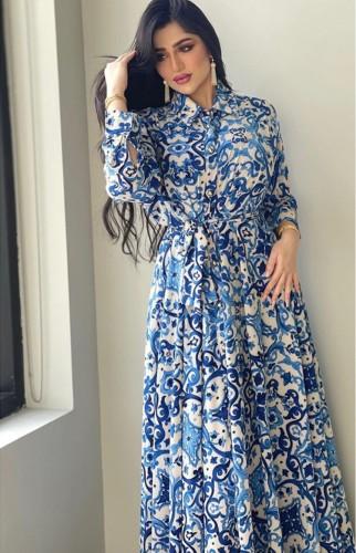 ベルト付き秋のエレガントなブルーフローラル長袖スケータードレス