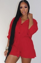 Autumn Red Button Up 3/4 Sleeve Drawstring Loose Playsuit