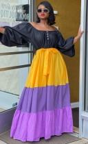 Vestido maxi de manga abullonada con hombros descubiertos africanos que bloquean el color del otoño con cinturón