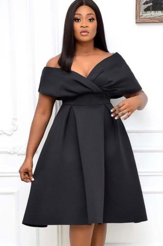 夏のエレガントな黒のVネックオフショルダーフォーマルスケータードレス