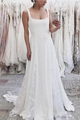 Summer White Elegant Straps A-Lline Bridal Wedding Dress