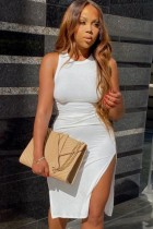 Zomer sexy witte ronde hals mouwloze split midi-jurk