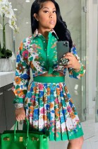 Conjunto de blusa de manga comprida retro estampado outono e saia plissada
