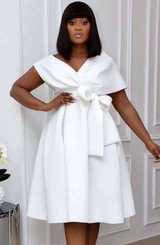 夏のエレガントな白いVネックオフショルダーフォーマルスケータードレス