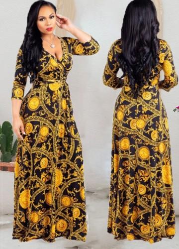 Осеннее платье макси с запахом и длинными рукавами в стиле ретро с цветочным принтом