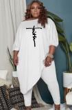Herbst Plus Size Weiß Puffärmel Unregelmäßiges Top und taillierte Hose Set