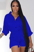 Autumn Blue Button Up 3/4 Sleeve Drawstring Loose Playsuit