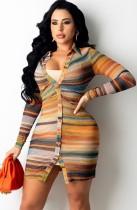 Abito blusa abbottonato a maniche lunghe a righe multicolori autunnali