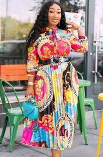 秋のアフリカンレトロプリント長袖スケータードレス