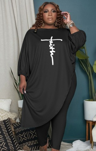 Ensemble haut irrégulier noir à manches bouffantes et pantalon ajusté d'automne grande taille