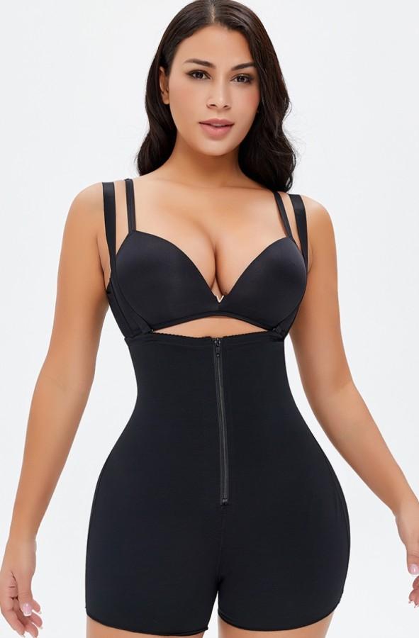 Sexy schwarze Träger Taille mit Reißverschluss Shaper