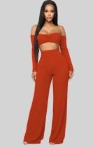 Herbst Sexy Orange schulterfreies Crop Top mit langen Ärmeln und Hose Set