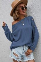 Herbst Casual Blau O-Ausschnitt Knopf Langarm Pullover
