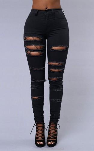Pantalon slim déchiré noir d'été