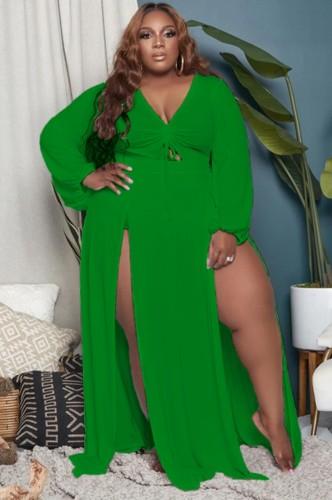 Robe longue d'été longue taille verte fendue à col en V et manches longues
