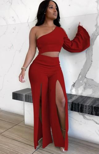 Automne Sexy Rouge Une épaule à manches longues Crop Top et Slit Pant ensemble