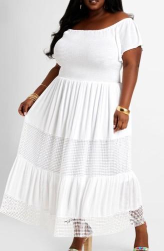 Robe longue d'été décontractée blanche à épaules dénudées et taille plus