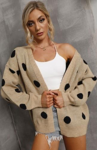 Manteau chandail à manches longues à pois kahaki décontracté d'automne