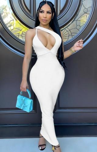 Robe longue évidée blanche sexy d'été