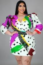 Autumn Plus Size Print Puffed sleeves Mini Dress
