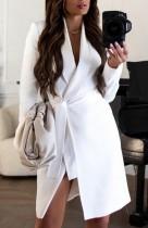 Herbst Elegantes weißes Langarm-Blazerkleid mit Blet
