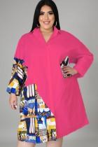 Estampado de talla grande de otoño con blusa de camisa larga en contraste rosa