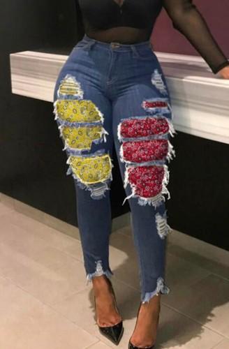 Automne Dk-Bleu Denim Taille Haute Déchiré Avec Des Jeans Patchés Imprimés Contrastés