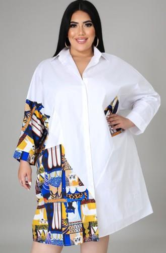 Chemisier d'automne grande taille avec chemise longue contrastante blanche