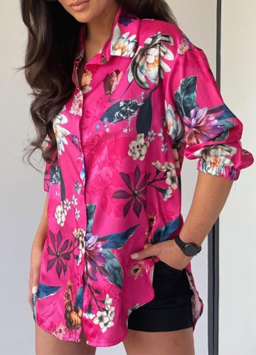 Chemisier ample à manches longues rose à la mode d'automne