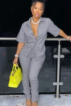Summer Casual Grey Short sleeve Button Shirt and Pant set