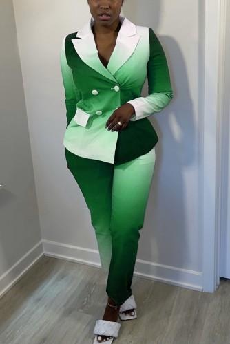 Ensemble blazer et pantalon vert automne tie dye
