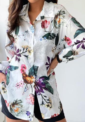 Chemisier ample à la mode à fleurs blanches à manches longues d'automne