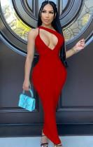 Sommer Sexy Rotes Aushöhlen Langes Kleid