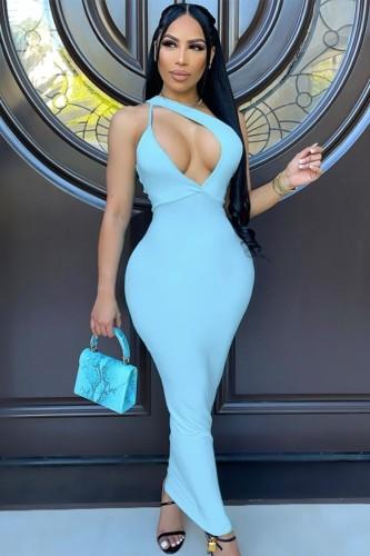 Robe longue évasée bleue sexy d'été