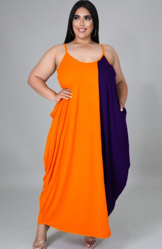 Robe longue d'été sans manches de couleur contrastée de grande taille