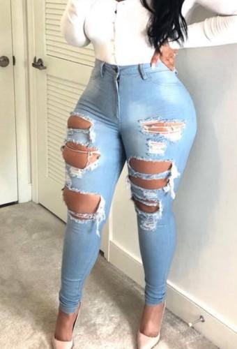 Summer LT-Blue Denim High Waist Ripped Slim Jeans