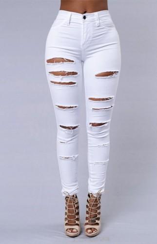 Pantalon slim déchiré blanc d'été
