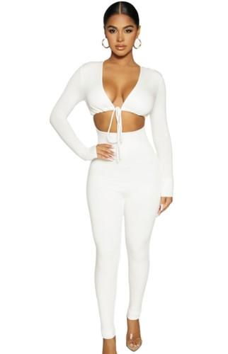 Automne Sexy Blanc Hollow Out avec sangle de taille Ensemble haut court et pantalon à manches longues