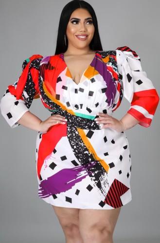 Mini-robe imprimée à manches bouffantes d'automne de grande taille