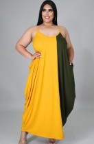 Summer Plus Size Contrasted Color Sleeveless Long Maxi dress