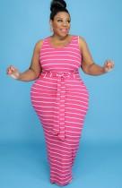 Summer Plus Size Pink Sleeveless with belt Sripe Long Maxi Dress