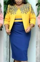 Herbst Plus Size Mutter der Braut Print Gelber Mantel und Kontrast Midikleid Set