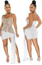 Sommer Sexy Khaki Weißes Pailletten Tube Club Kleid mit Saum