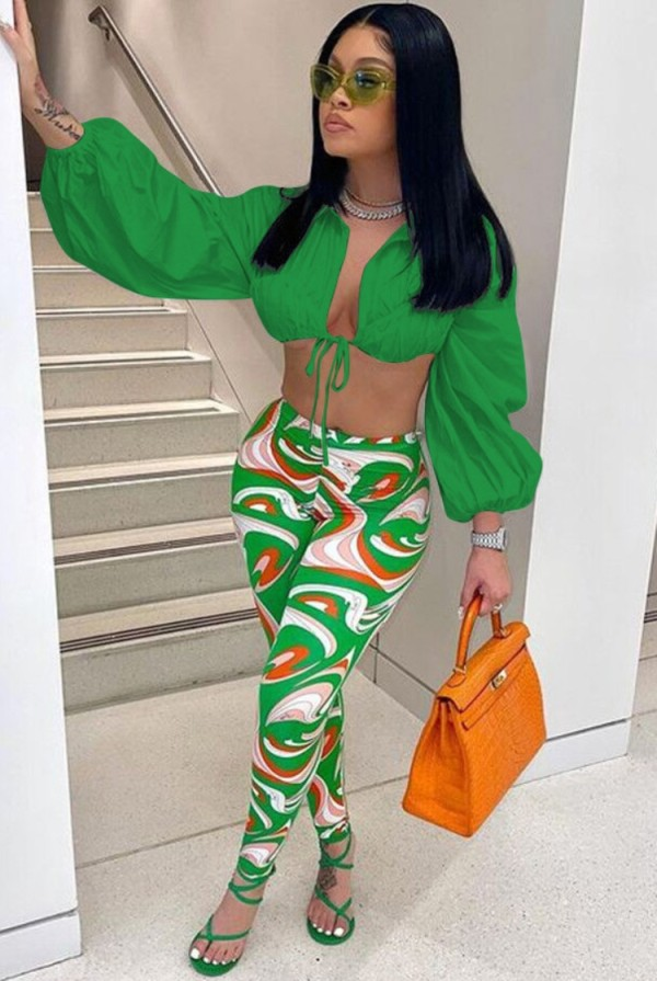Autumn Sexy Green Puff Sleeve Crop Top and Print Legging Set