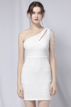 Sommer Elegantes Weißes Pailletten One Shoulder Formales Partykleid