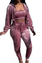Otoño chaleco púrpura con cremallera sudaderas con capucha y conjunto de pantalón